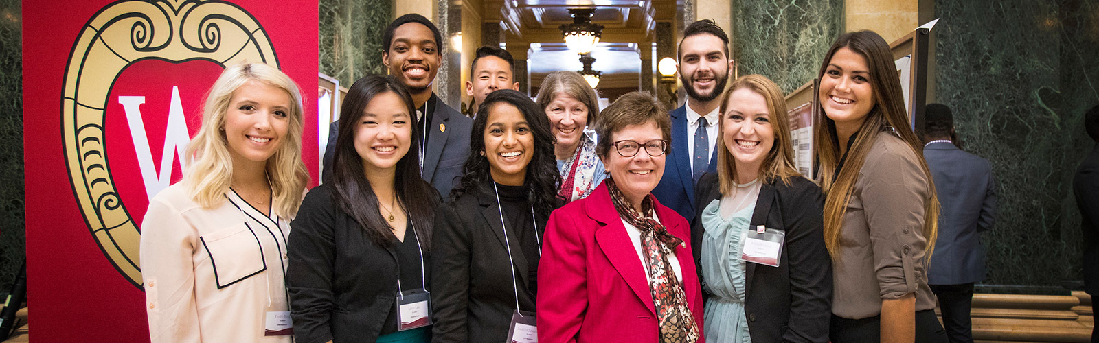 UW–Madison students and Chancellor Rebecca Blank at the 14th Annual Research in the Rotunda event.